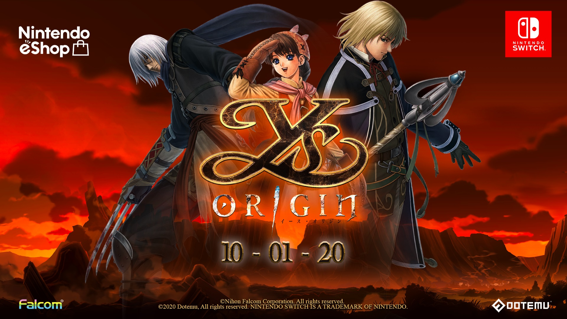 Ys Origin will hit the Nintendo Switch on October 1st!