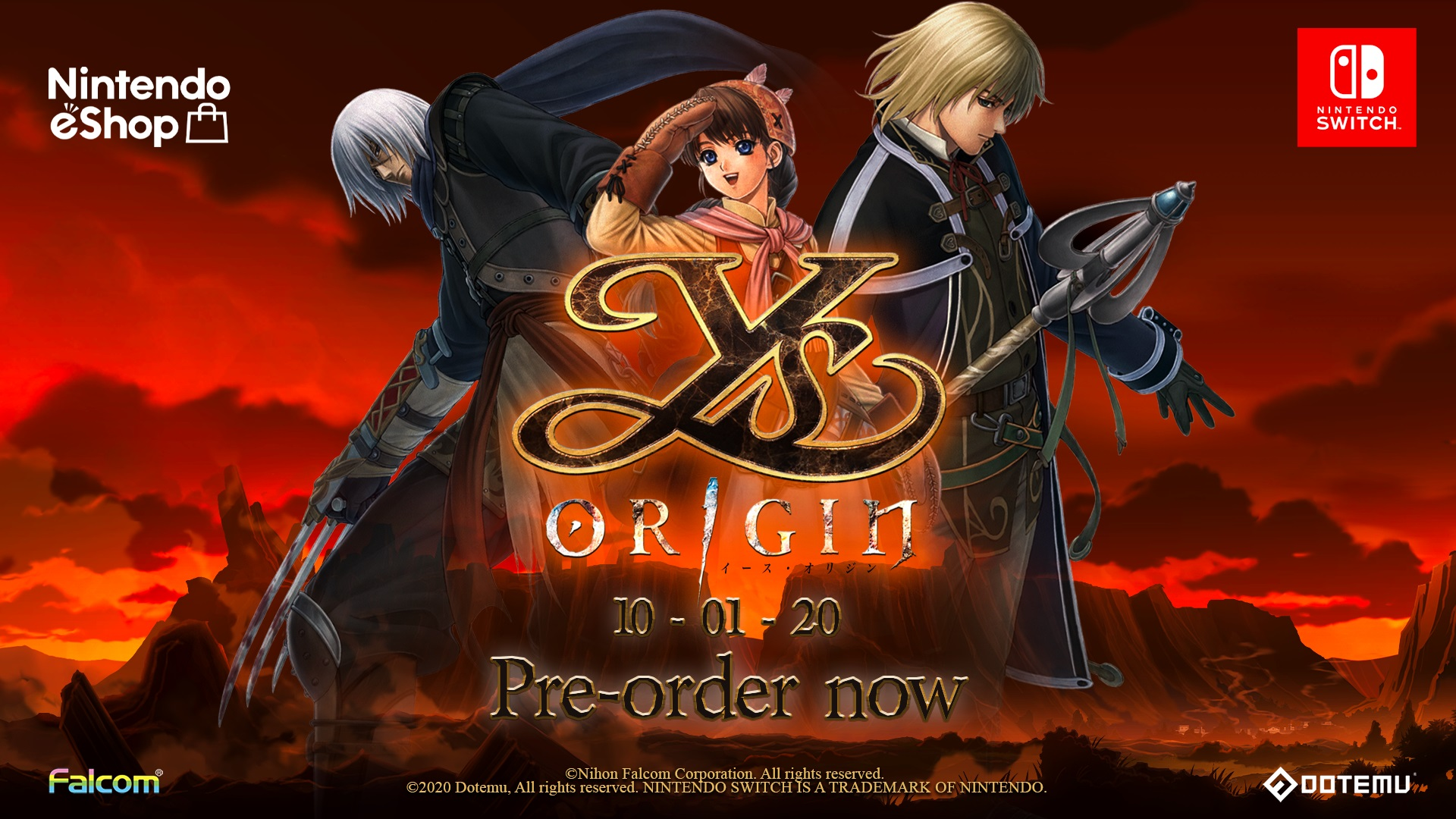 You can now pre-order Ys Origin on Nintendo Switch!