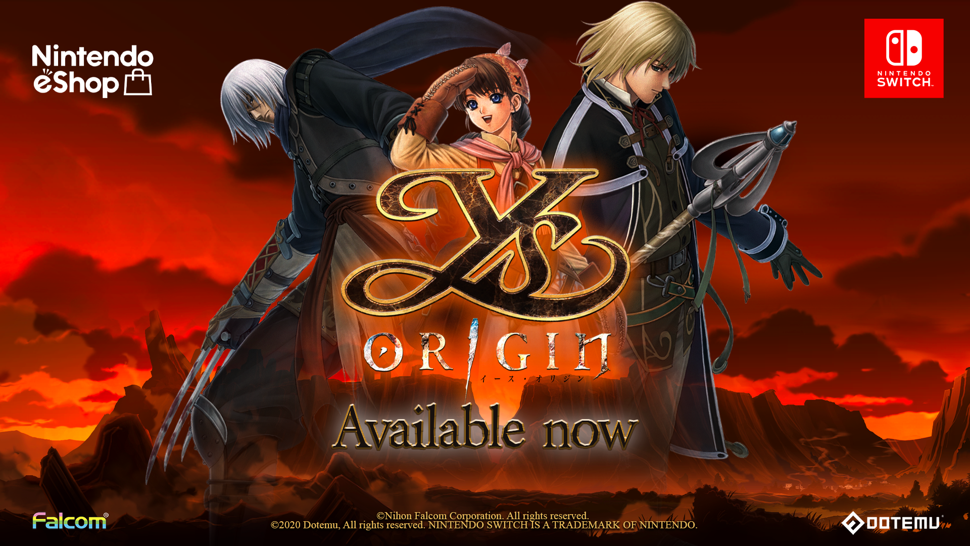 Ys Origin is now available on Nintendo Switch!